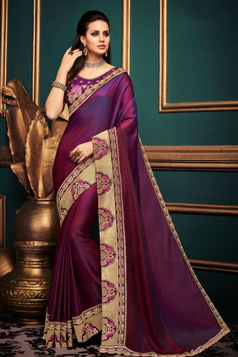 Purple Fancy Fabric Designer Function Wear Saree With Lace Boder