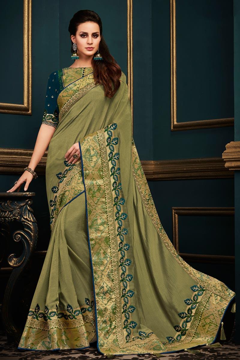 Fancy Fabric Designer Function Wear Green Saree With Boder Work