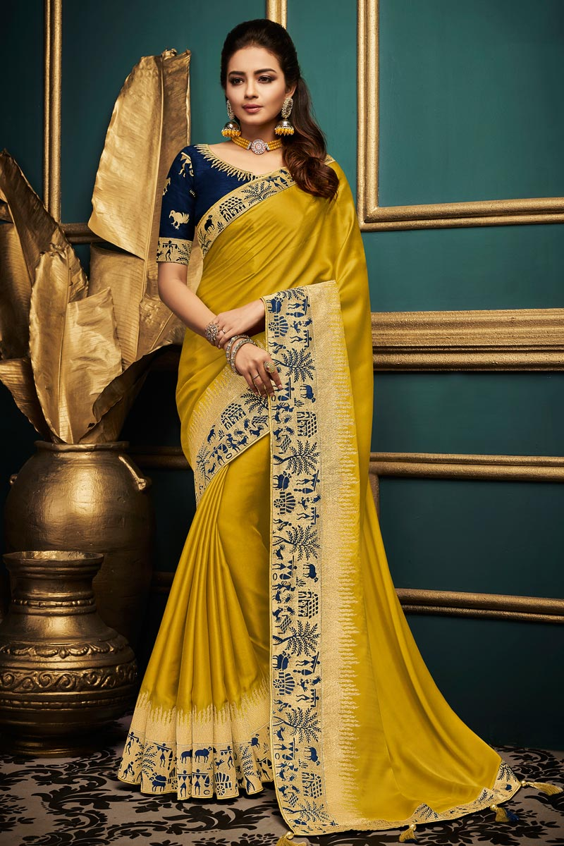 Designer Party Style Yellow Saree In Fancy Fabric With Lace Border