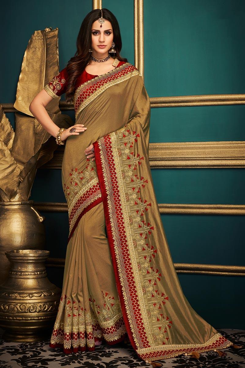 Function Wear Fancy Fabric Designer Saree In Dark Beige With Boder Work