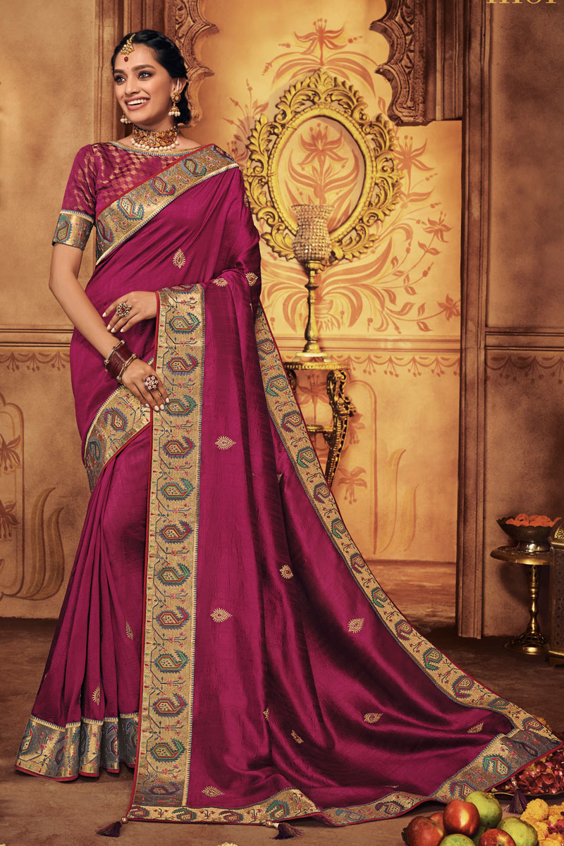 Dark Pink Color Party Wear Embroidered Saree In Fancy Fabric With Designer Blouse