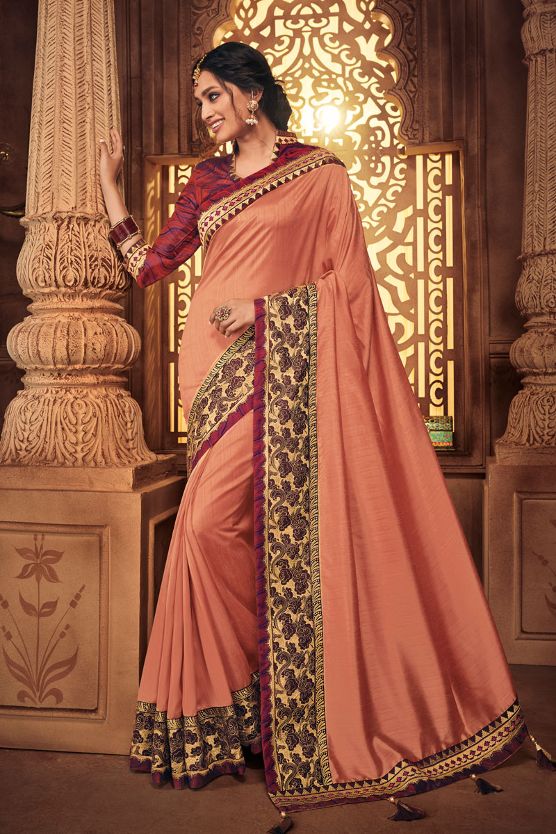 Function Wear Fancy Fabric Embroidered Saree In Salmon Color With Party Wear Blouse