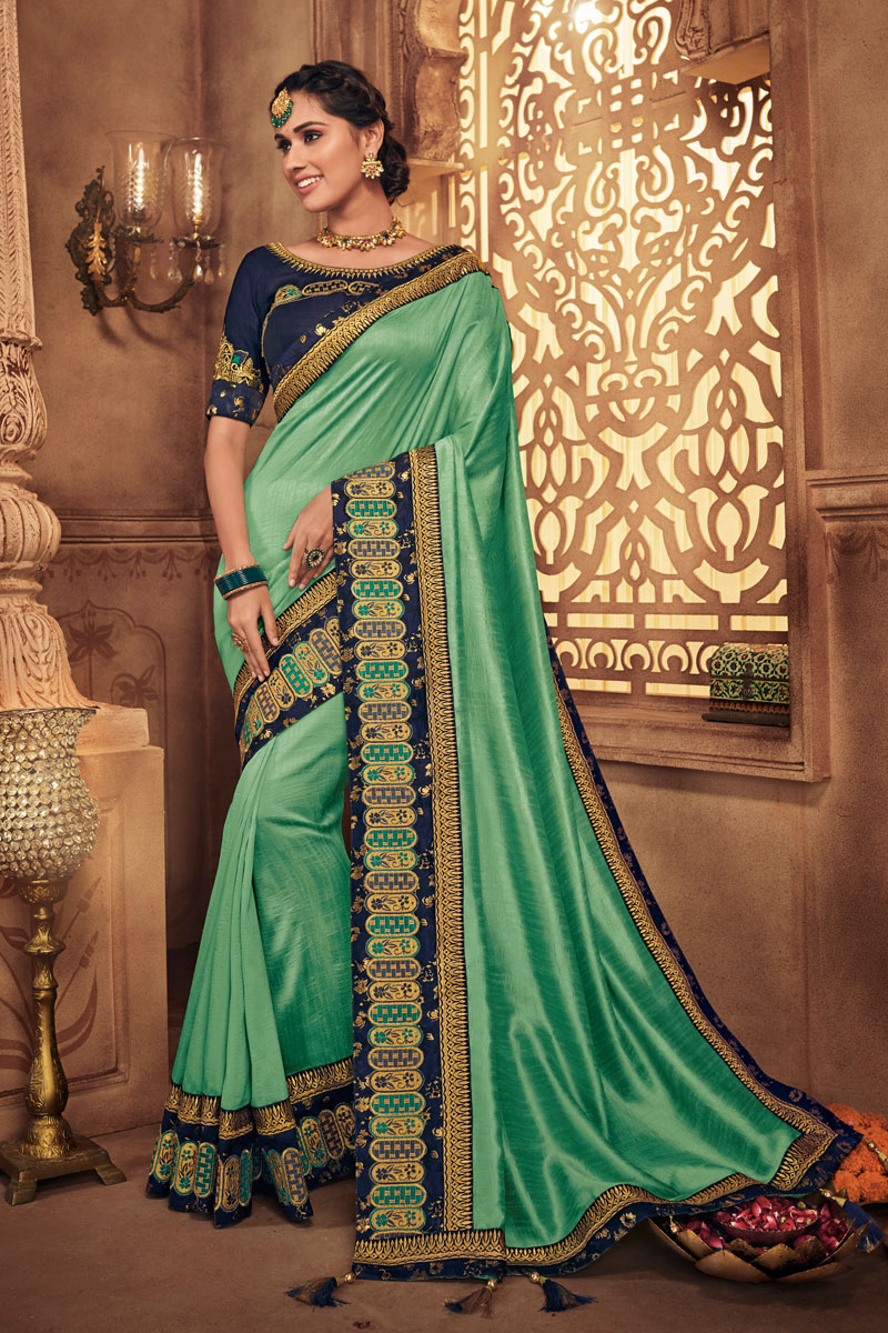 Embroidery Work On Fancy Fabric Sea Green Color Function Wear Saree With Marvelous Blouse