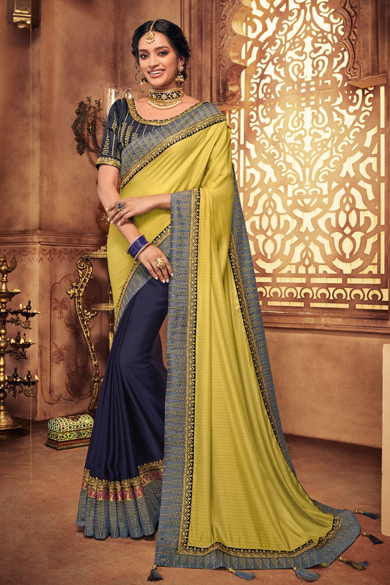 Fancy Fabric Embroidery Designs On Khaki Color Occasion Wear Saree With Gorgeous Blouse