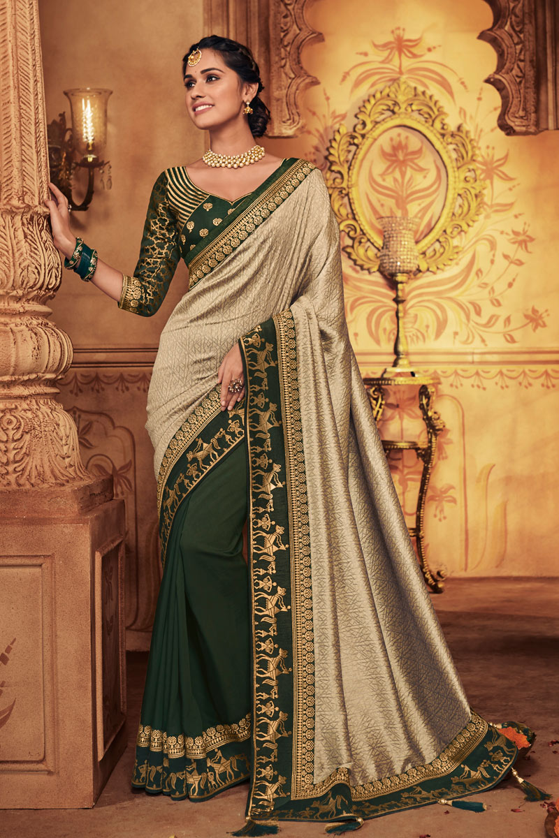 Embroidery Work On Fancy Fabric Dark Beige Color Function Wear Saree With Enigmatic Blouse