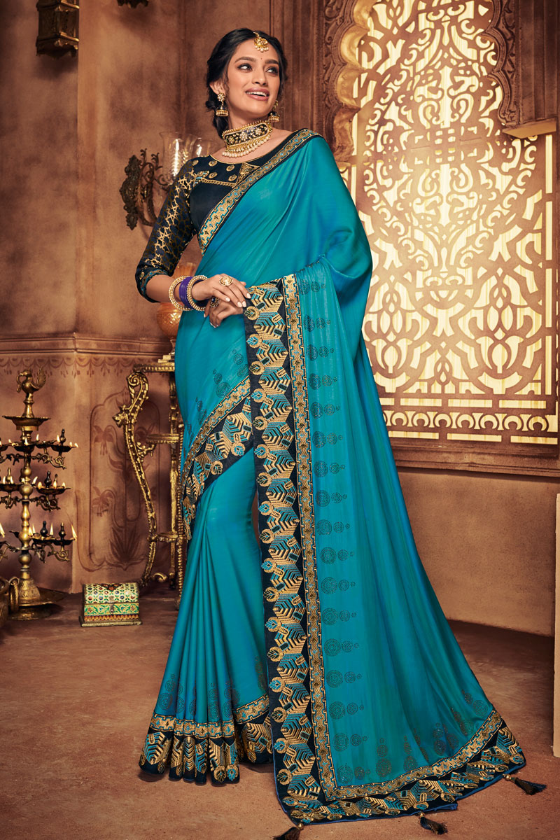 Fancy Fabric Designer Embroidered Saree In Sky Blue Color With Attractive Blouse