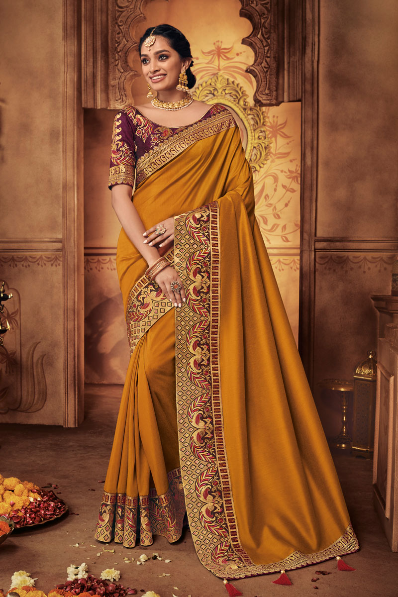 Orange Color Fancy Fabric Wedding Wear Saree With Embroidery Work And Gorgeous Blouse
