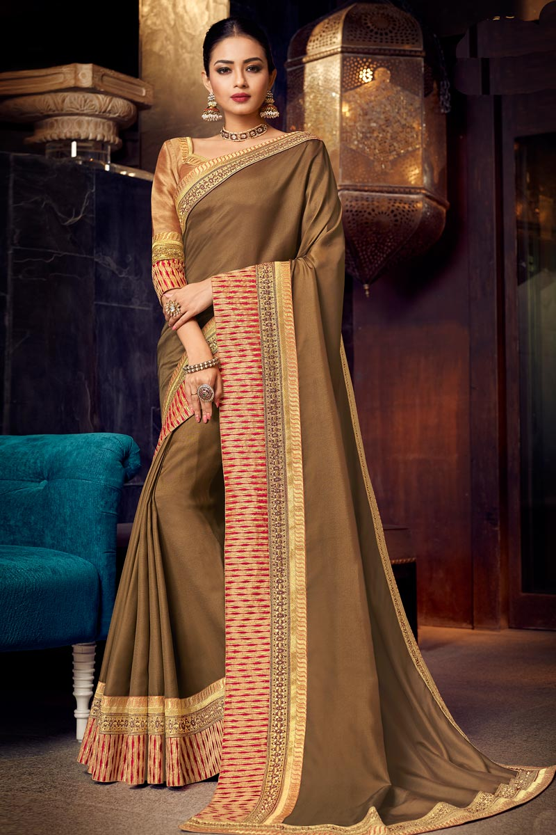 Embroidery Work On Fancy Fabric Designer Saree In Brown Color With Attractive Blouse