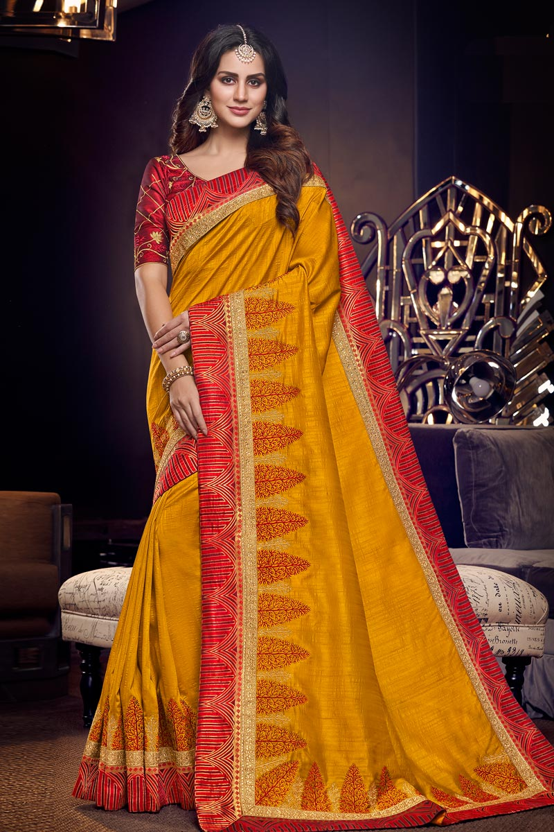 Mustard Color Party Wear Embroidered Saree In Fancy Fabric With Designer Blouse