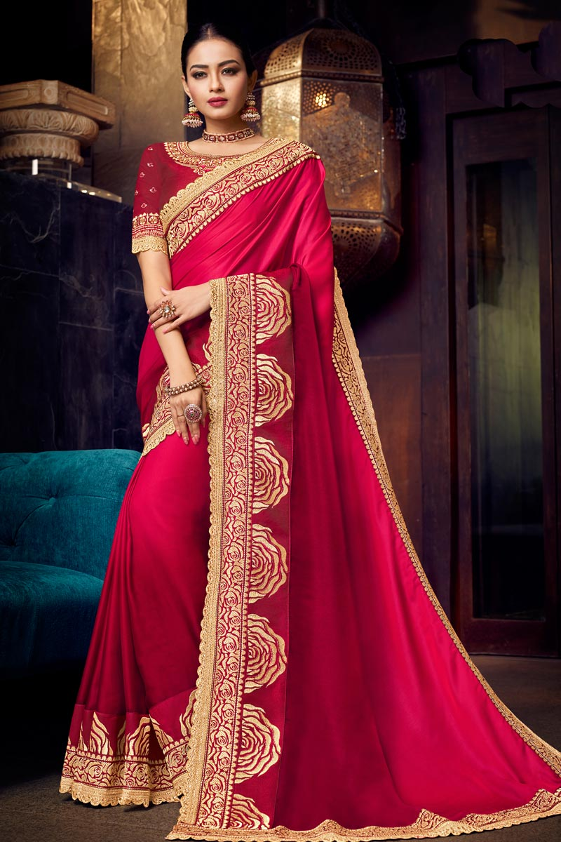 Fancy Fabric Embroidery Designs On Pink Color Occasion Wear Saree With Gorgeous Blouse