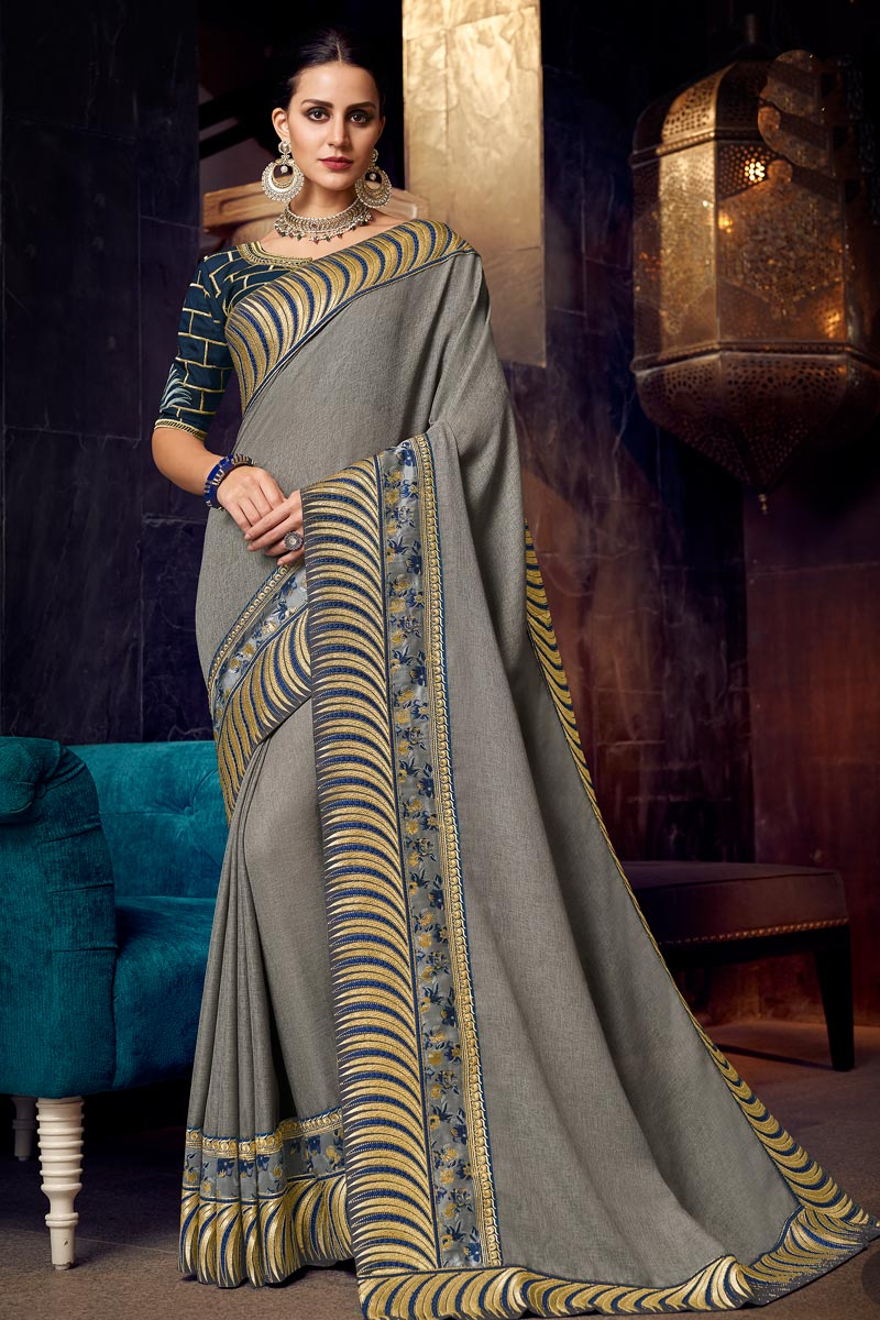 Embroidery Work On Fancy Fabric Grey Color Function Wear Saree With Enigmatic Blouse