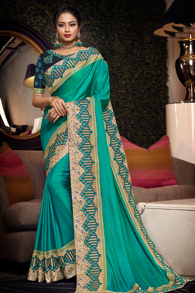 Embroidered Border And Blouse With Cyan Color Party Wear Saree In Fancy Fabric
