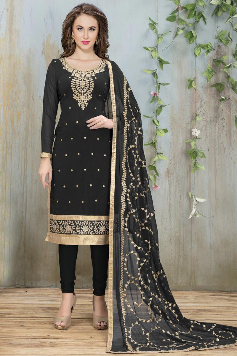 Embroidered Georgette Straight Churidar Salwar Suit