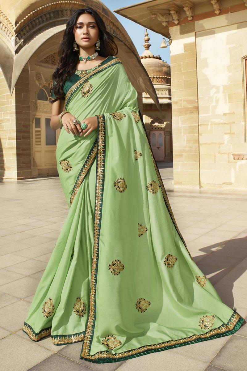 Designer Art Silk Function Wear Sea Green Embroidered Fancy Saree