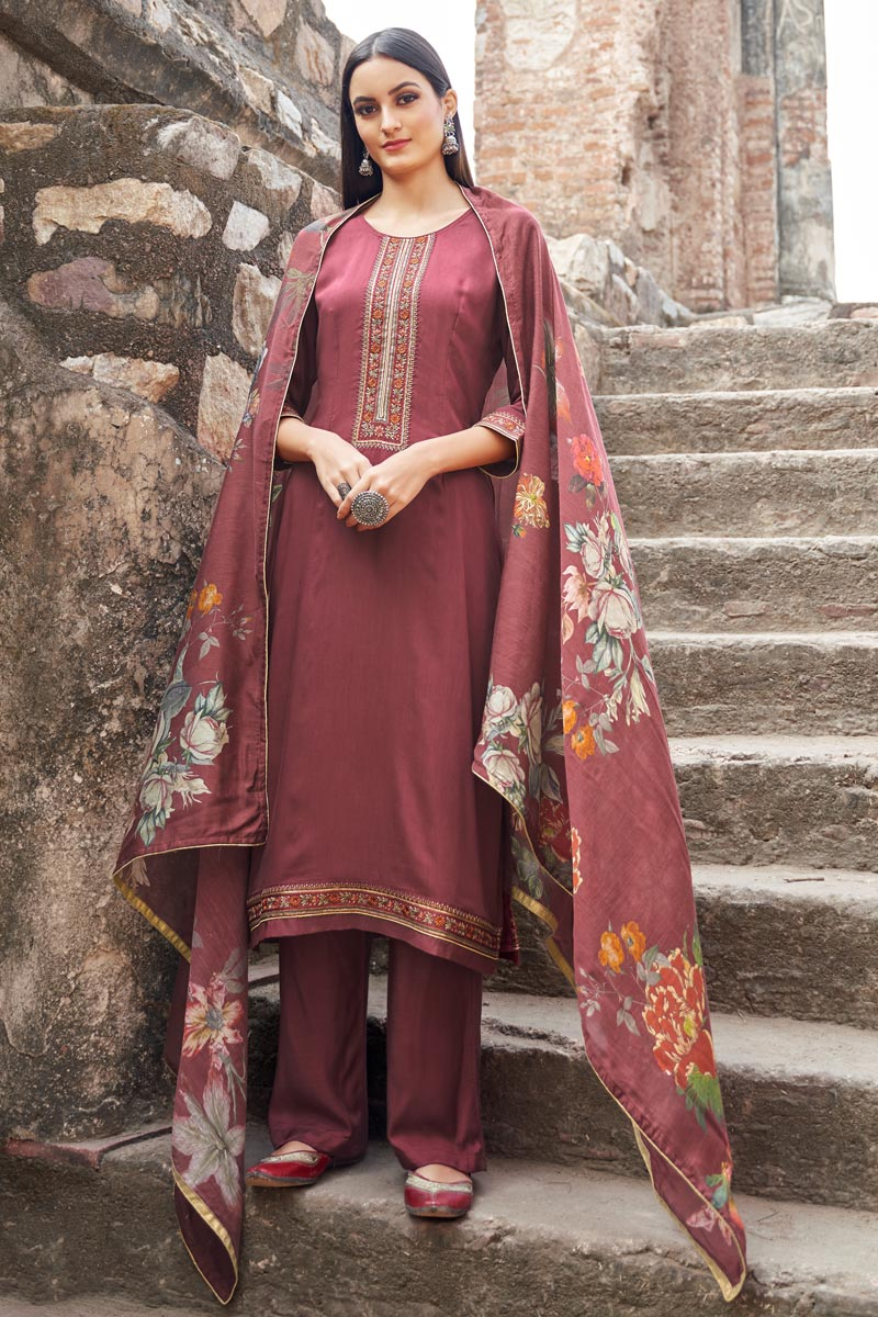 Festive Wear Pink Color Embroidered Straight Cut Suit In Fancy Fabric