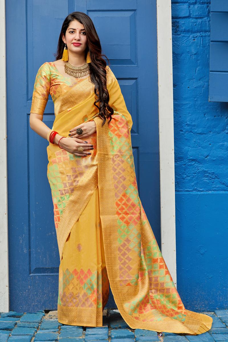 Function Wear Yellow Color Trendy Weaving Work Saree In Banarasi Silk Fabric