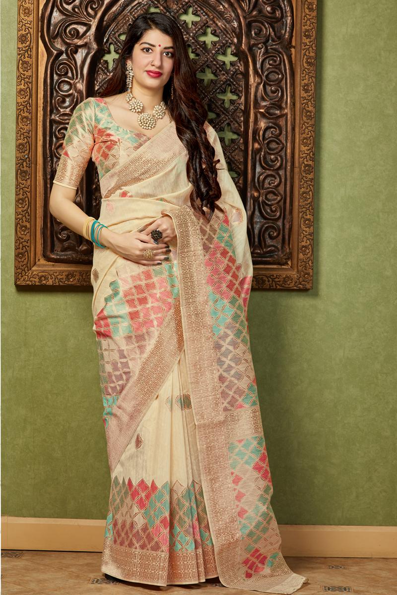 Banarasi Silk Fabric Function Wear Beige Color Trendy Weaving Work Saree