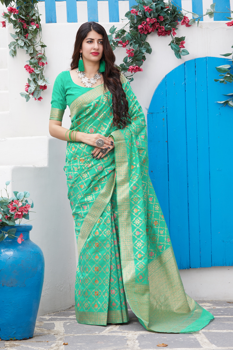 Festive Special Weaving Work Sea Green Color Designer Saree In Banarasi Silk Fabric