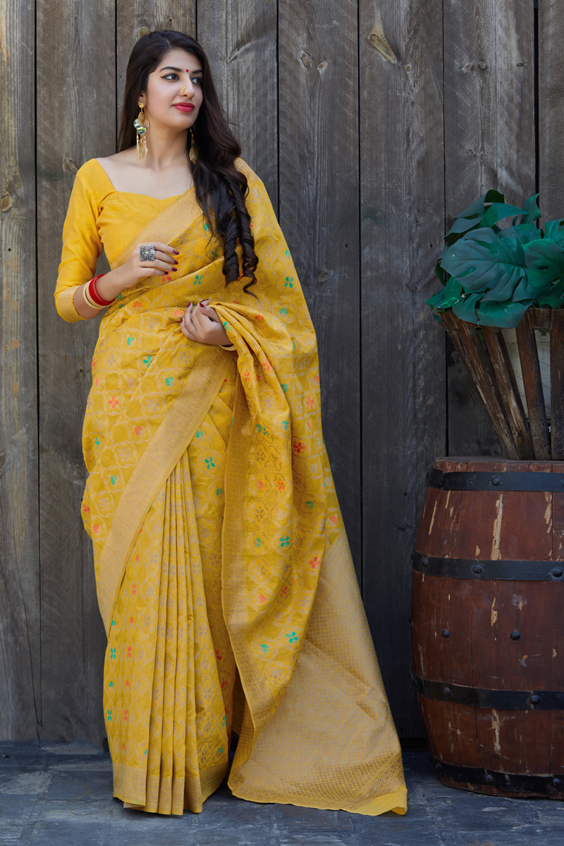 Banarasi Silk Fabric Party Wear Saree In Mustard Color With Weaving Work