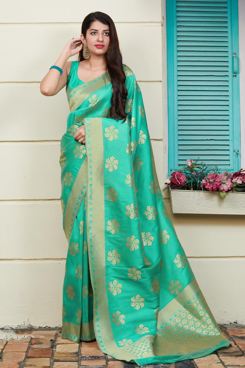 Weaving Work Light Teal Color Banarasi Silk Fabric Function Wear Saree
