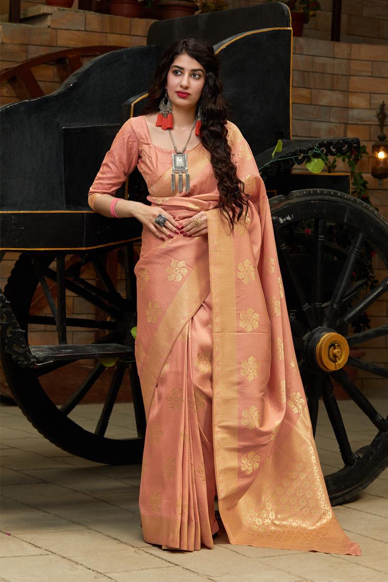 Banarasi Silk Fabric Salmon Color Designer Saree With Weaving Work