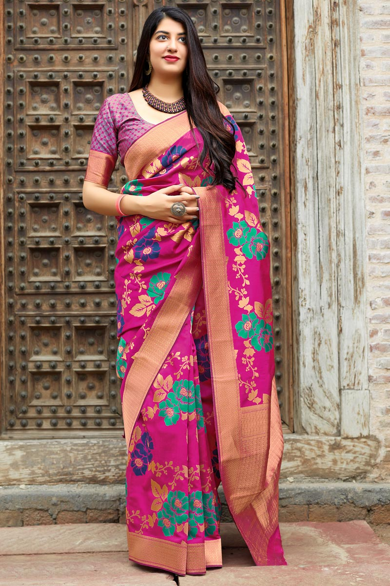 Banarasi Style Silk Rani Color Traditional Wear Fancy Weaving Work Saree