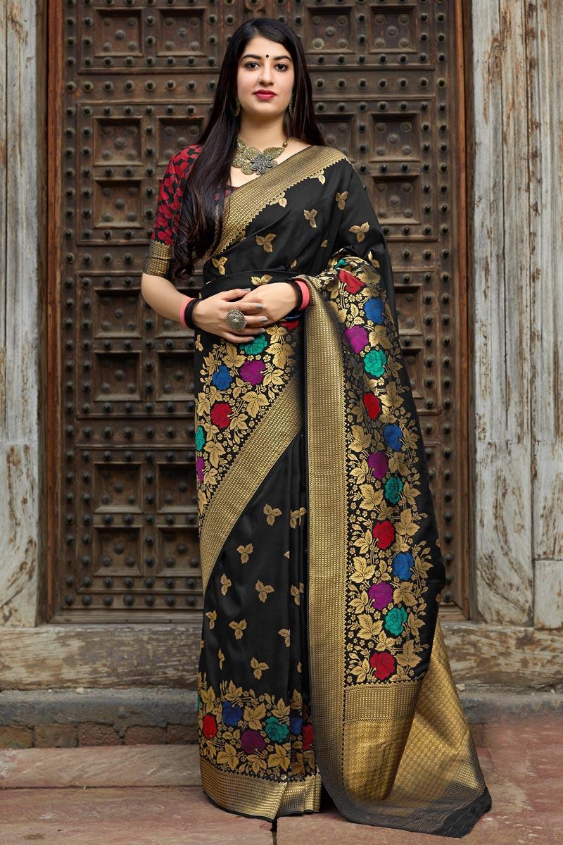 Traditional Wear Black Fancy Weaving Work Banarasi Style Silk Saree