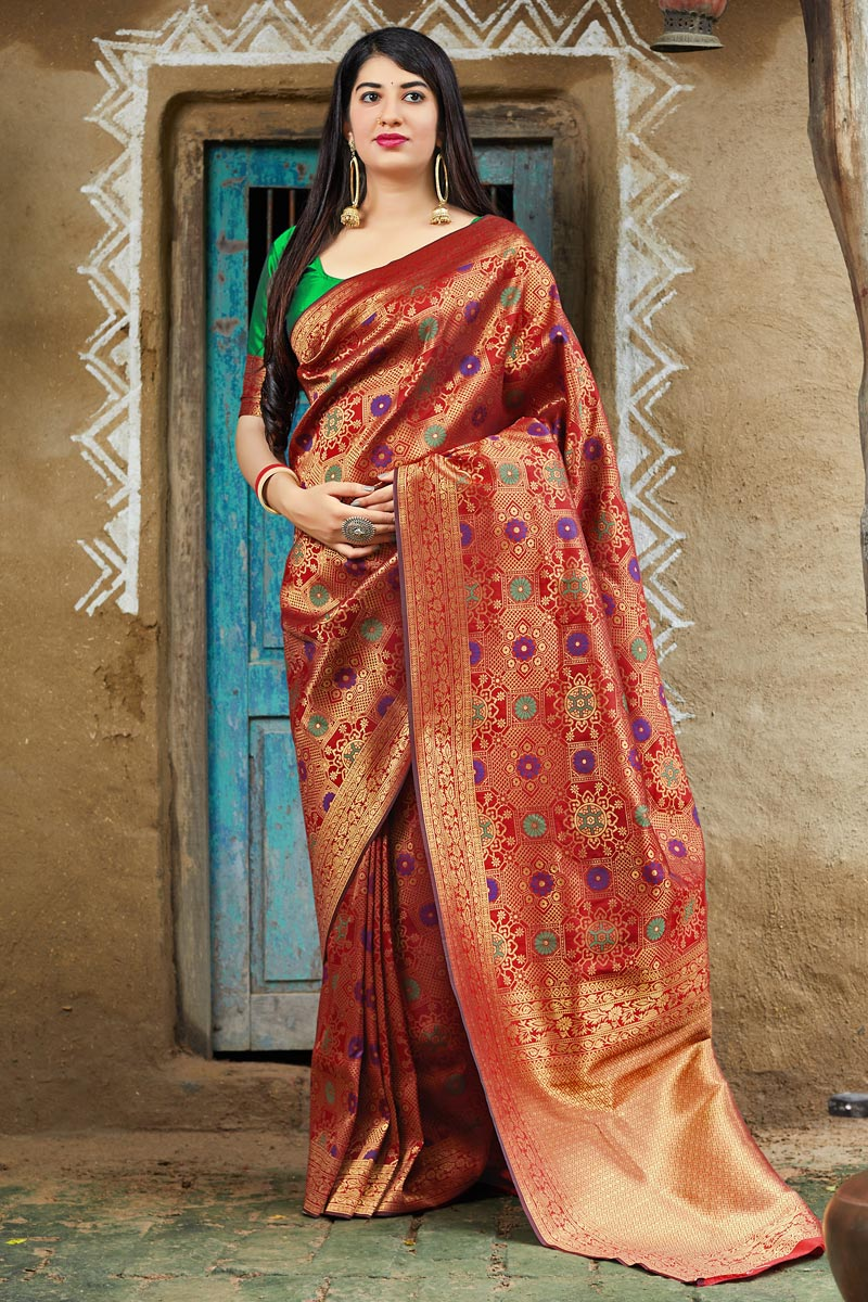 Traditional Wear Red Banarasi Style Silk Fancy Weaving Work Saree