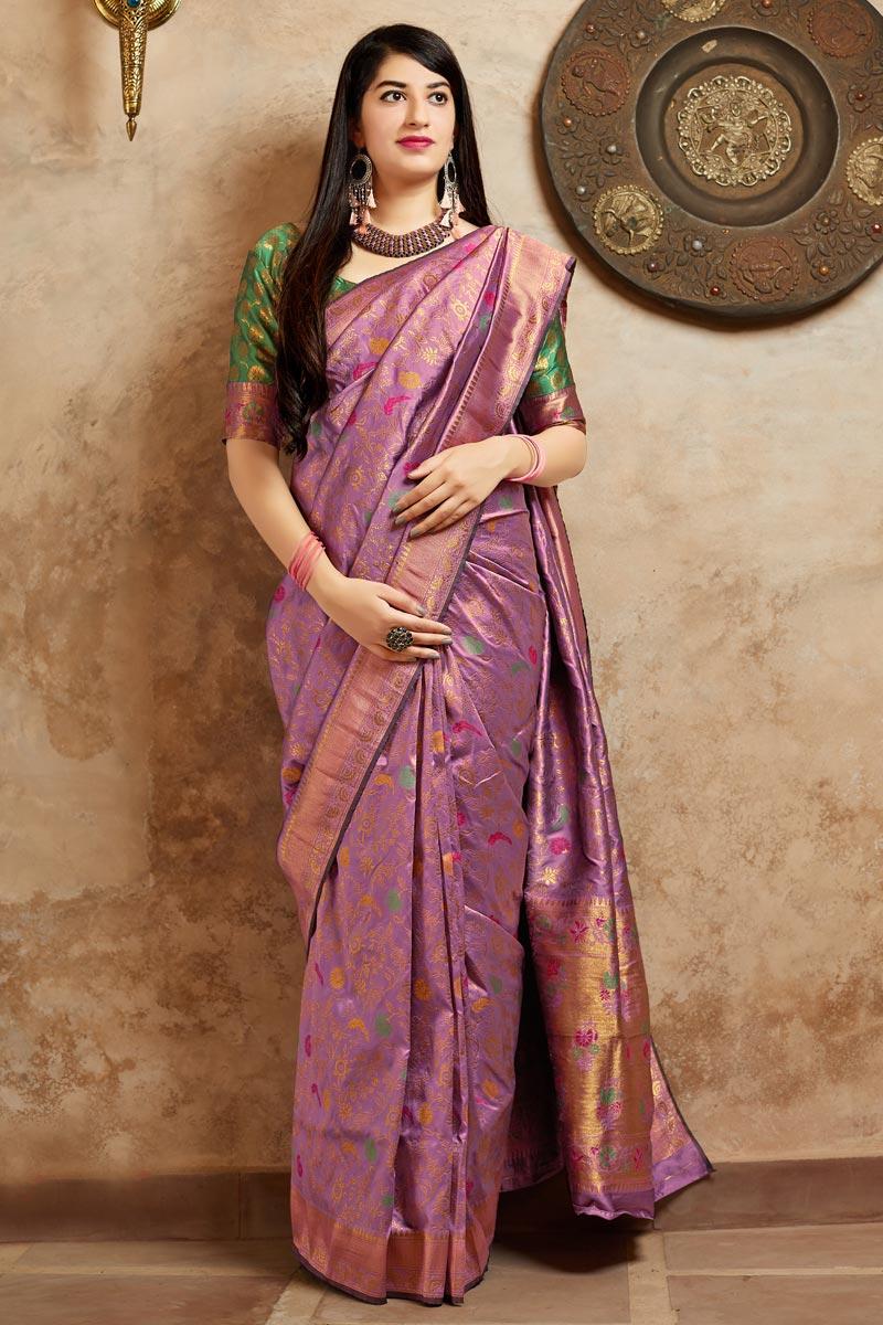 Traditional Wear Pink Fancy Weaving Work Saree In Banarasi Style Silk