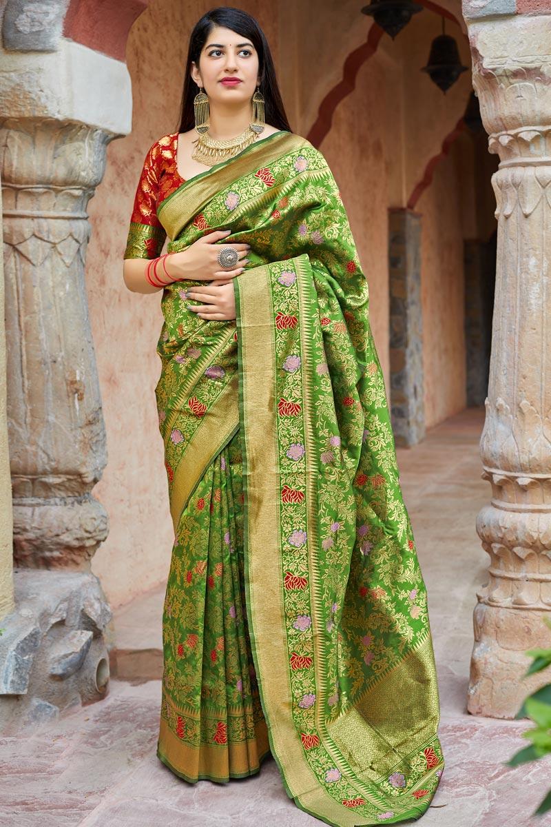 Green Banarasi Style Silk Traditional Wear Fancy Weaving Work Saree