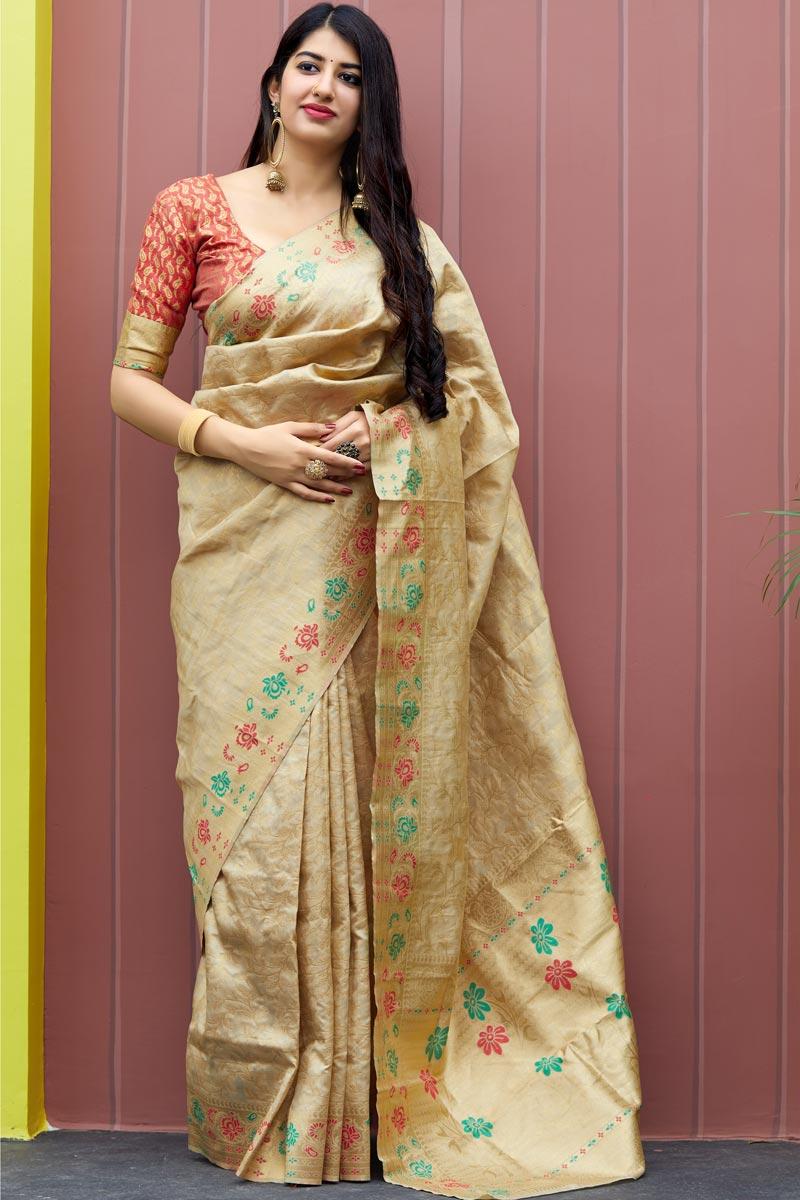 Traditional Wear Banarasi Style Silk Fancy Weaving Work Beige Saree