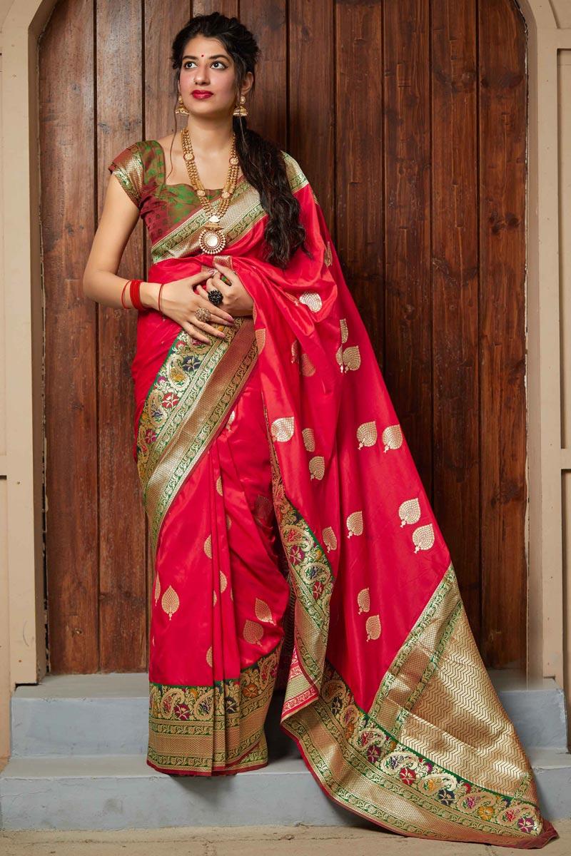 Chic Sangeet Wear Red Color Weaving Work Saree In Art Silk Fabric