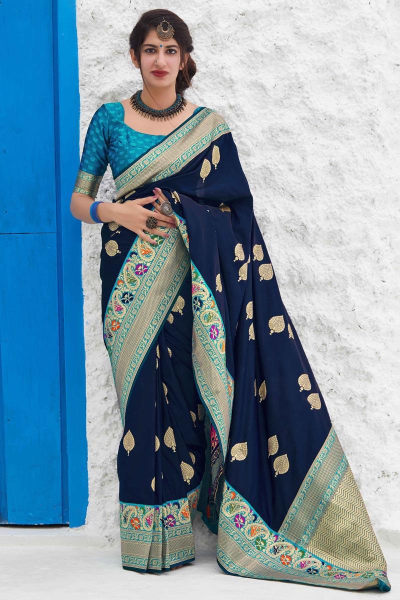 Sangeet Wear Navy Blue Color Chic Art Silk Fabric Weaving Work Saree