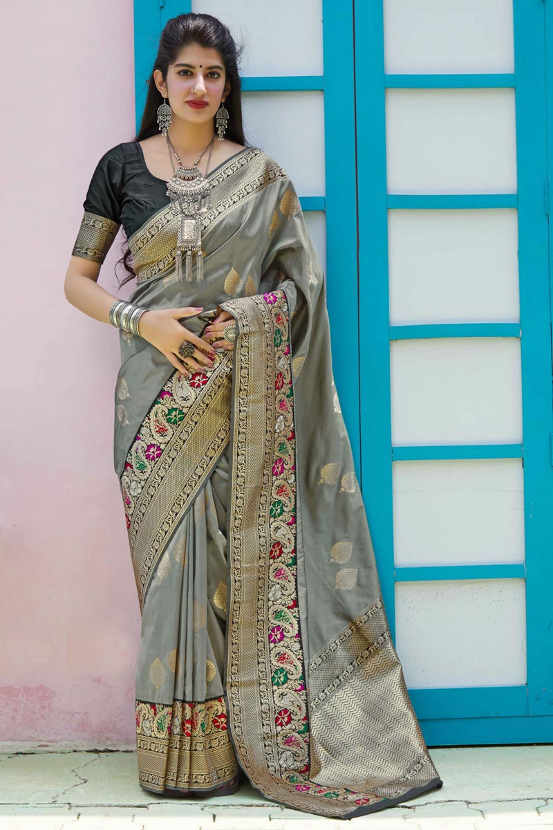 Chic Art Silk Fabric Sangeet Wear Grey Color Weaving Work Saree