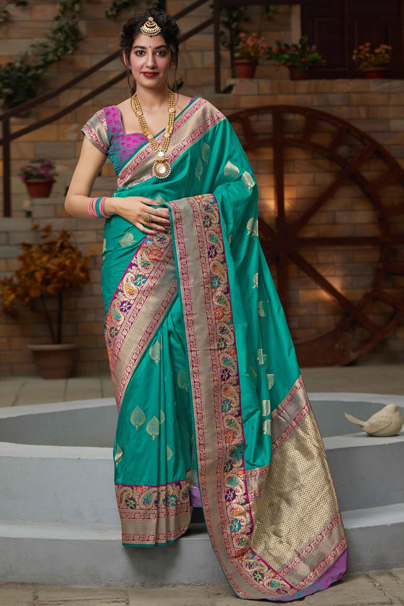 Sangeet Wear Cyan Color Chic Art Silk Fabric Weaving Work Saree