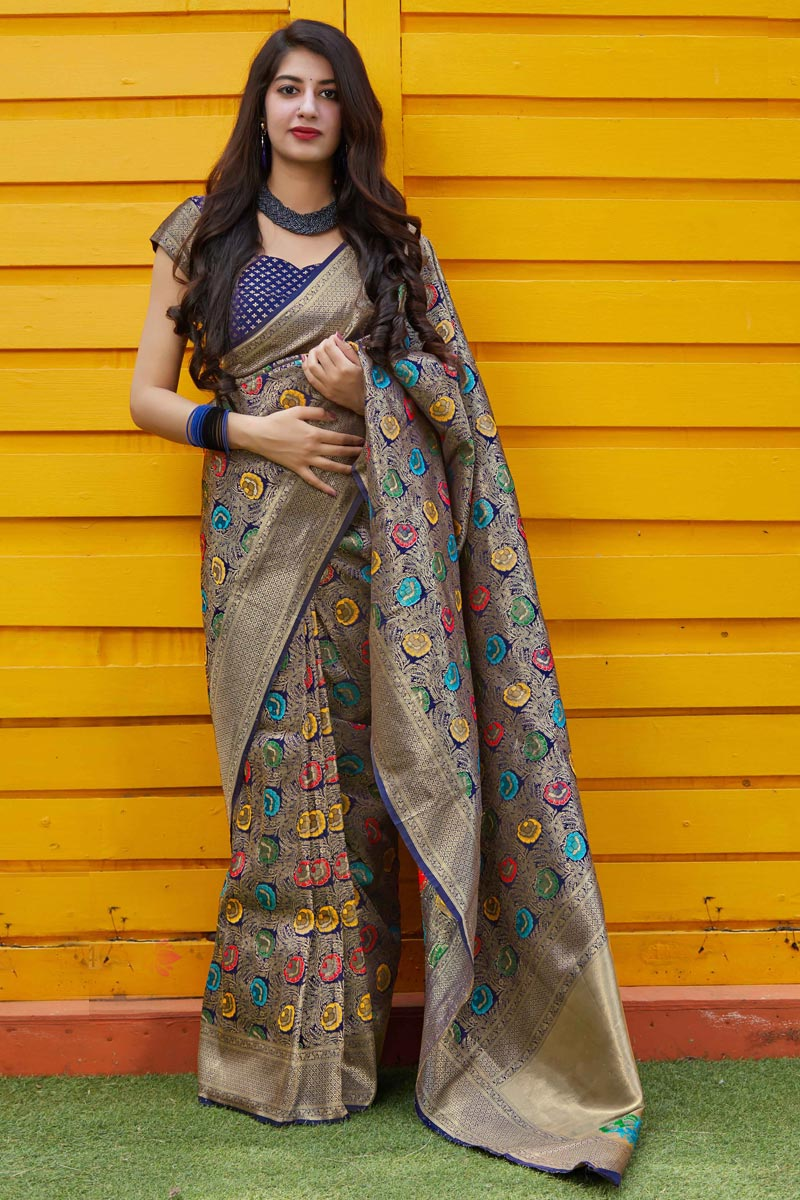 Navy Blue Color Chic Sangeet Wear Art Silk Fabric Weaving Work Saree
