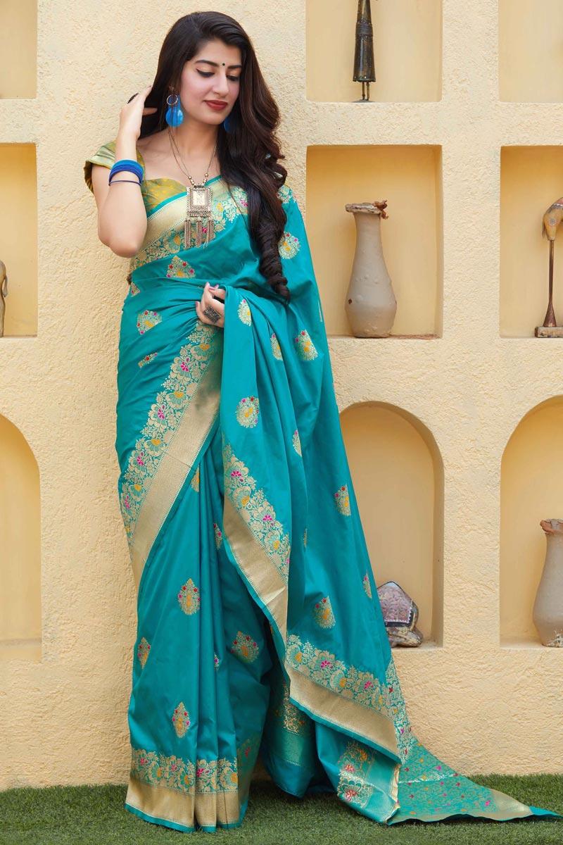 Chic Sangeet Wear Art Silk Fabric Weaving Work Saree In Cyan Color