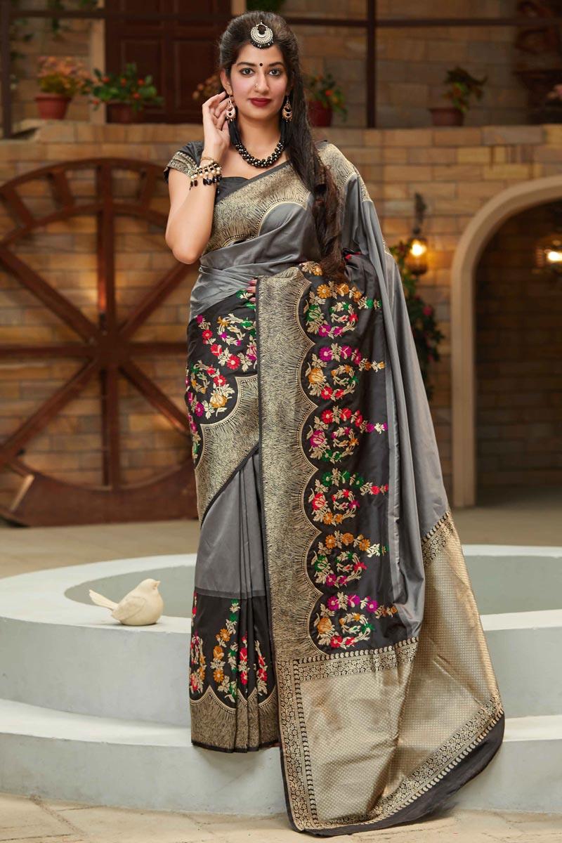 Chic Grey Color Sangeet Wear Art Silk Fabric Weaving Work Saree