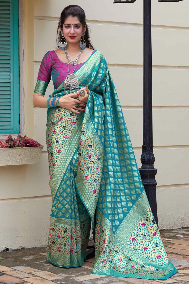 Sangeet Wear Cyan Color Chic Weaving Work Saree In Art Silk Fabric