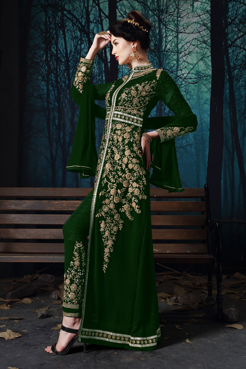 Georgette Fabric Dark Green Color Function Wear Embroidered Anarkali Suit