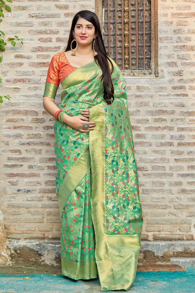Weaving Work On Designer Saree In Sea Green Banarasi Silk Fabric With Likable Blouse