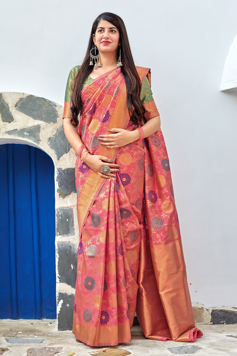Weaving Work Designs On Banarasi Silk Fabric Function Wear Saree In Peach Color With Classic Blouse