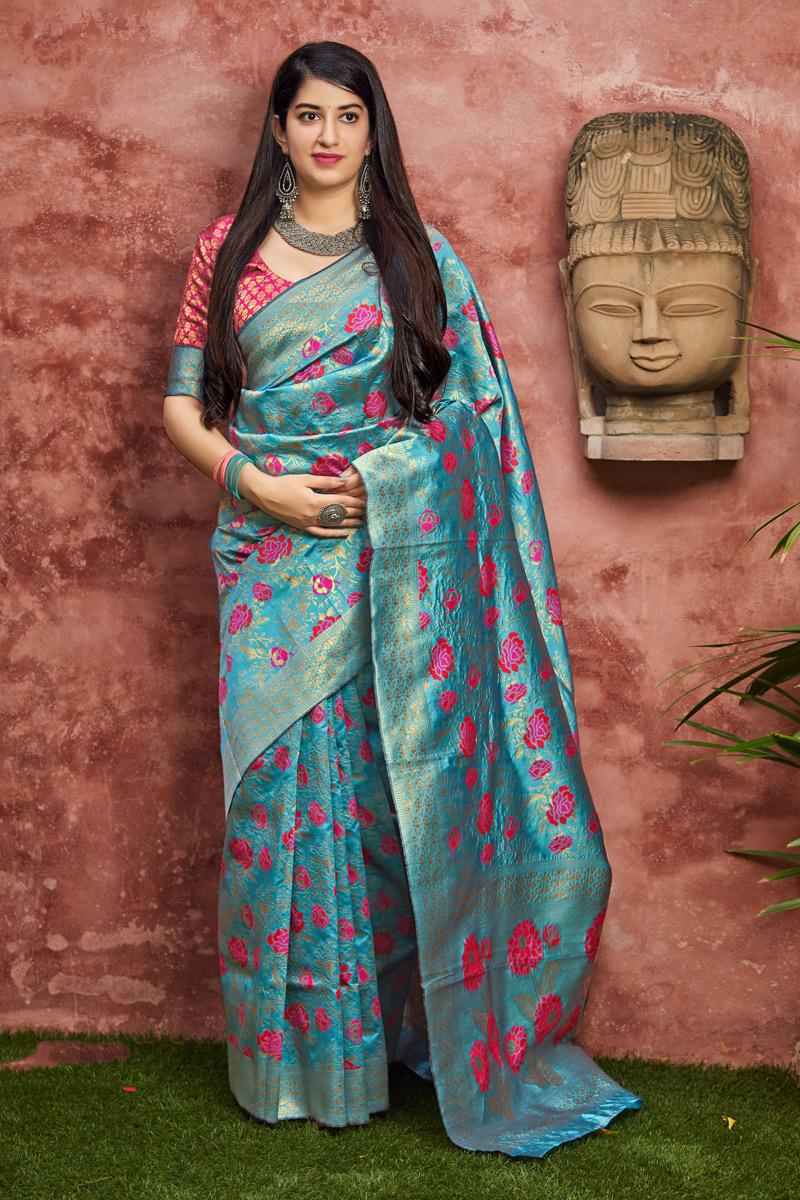 Banarasi Silk Fabric Designer Party Wear Saree In Sky Blue Color With Weaving Work