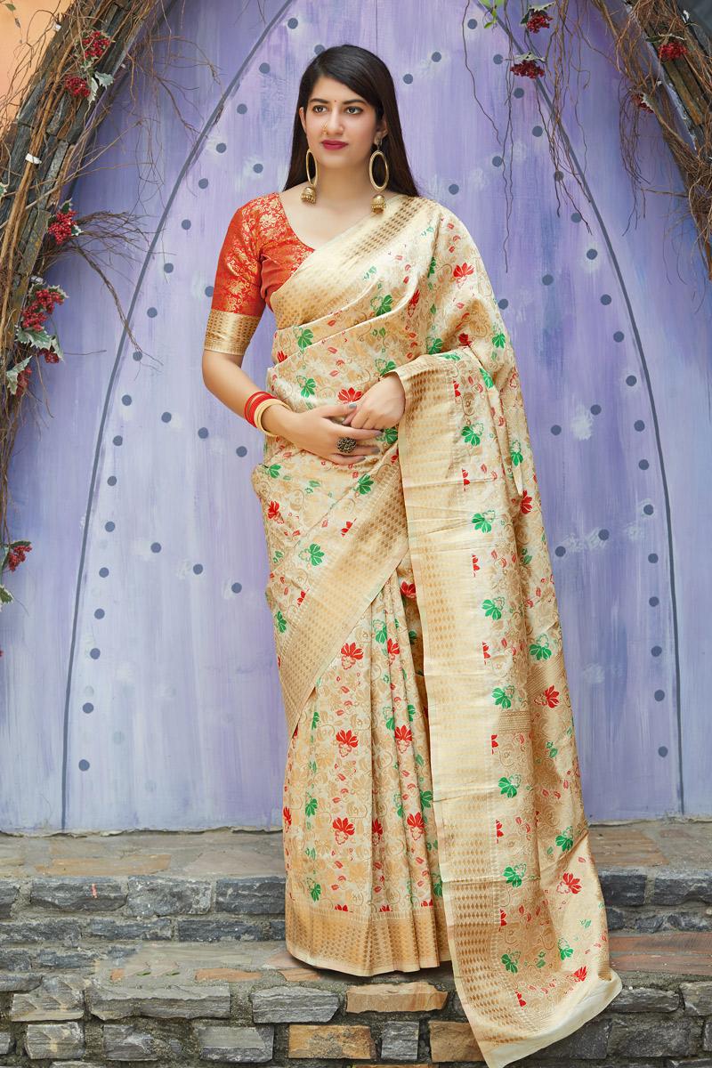 Weaving Work On Beige Color Banarasi Silk Fabric Saree For Mehendi Ceremony