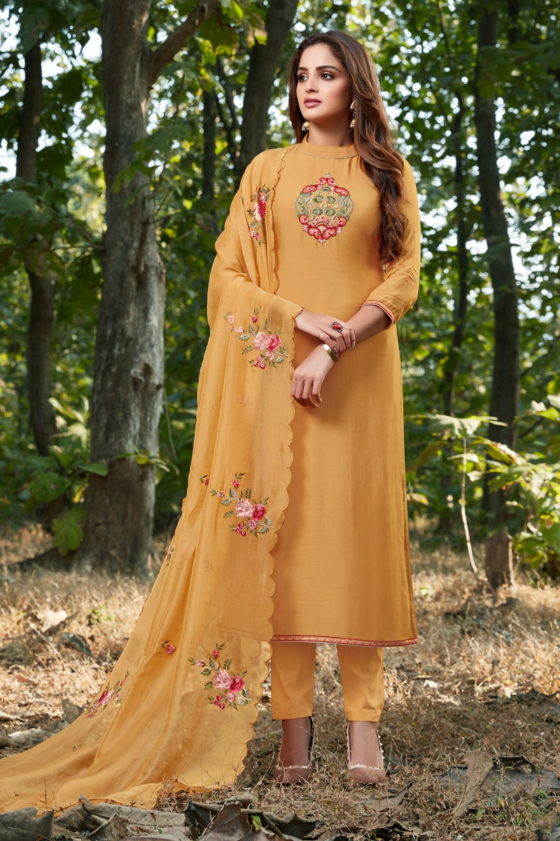 Party Style Mustard Color Cotton Silk Fabric Thread Embroidered Straight Cut Suit