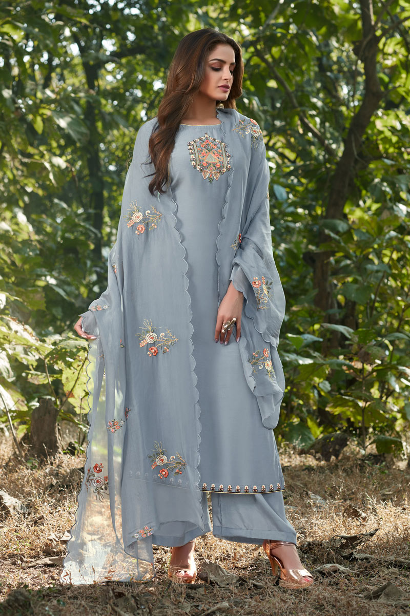 Party Style Cotton Silk Fabric Thread Embroidered Palazzo Dress In Grey Color