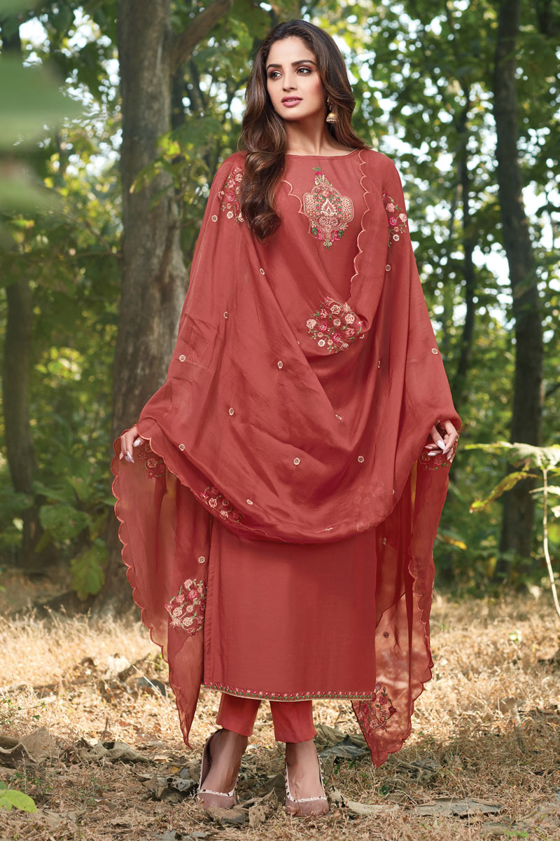 Eid Special Party Style Cotton Silk Fabric Thread Embroidered Straight Cut Dress In Maroon Color