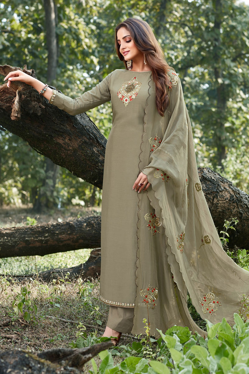 Party Style Thread Embroidered Cotton Silk Fabric Dark Beige Color Palazzo Dress