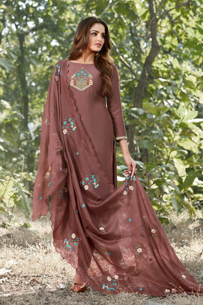Cotton Silk Fabric Party Style Thread Embroidered Straight Cut Dress In Wine Color