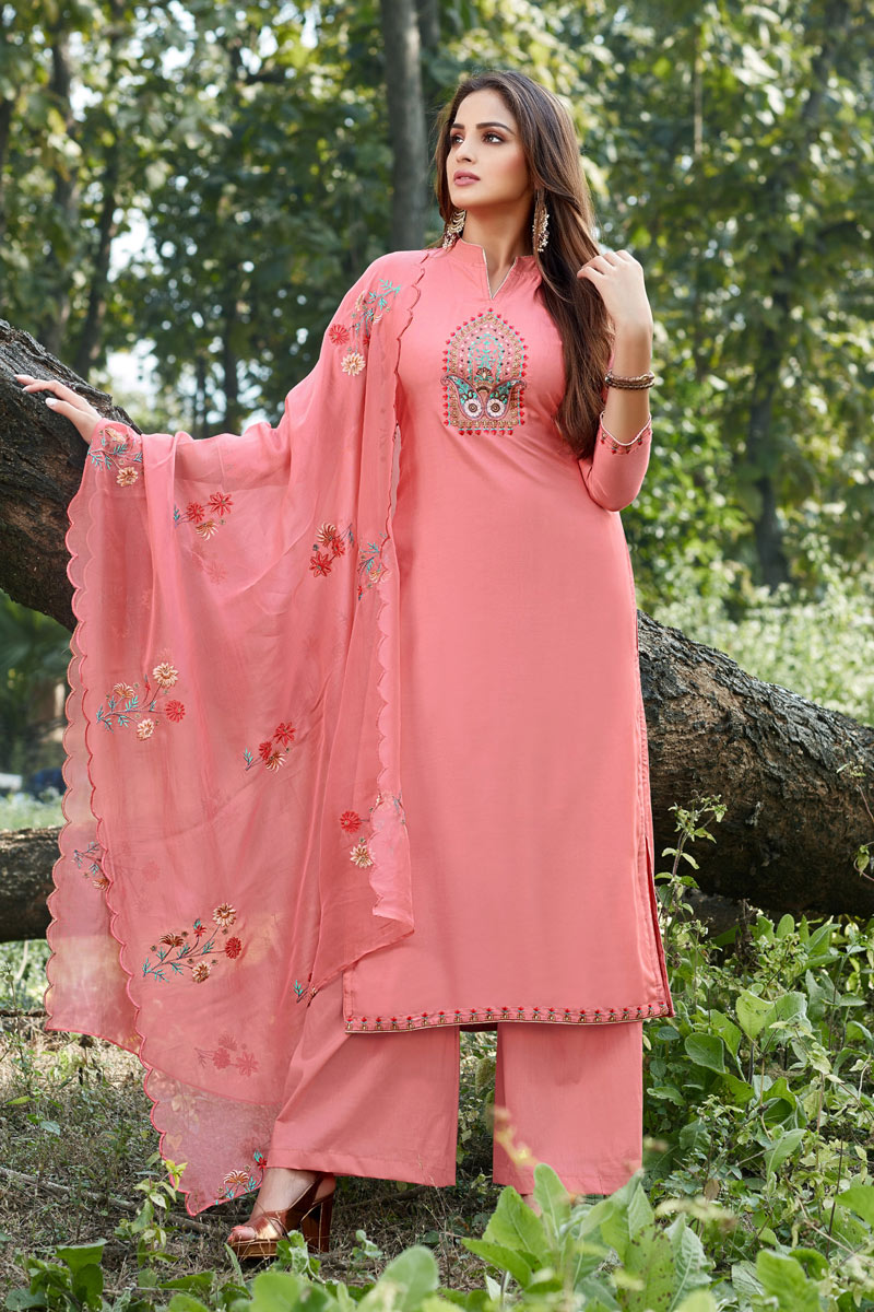 Eid Special Party Style Cotton Silk Fabric Peach Color Thread Embroidered Palazzo Suit